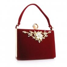 53b5cc166293 Клатч сумочка женская велюровая каркасная для торжеств со стразами красная  1661