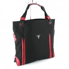 69cea7f0875a Купить Сумка текстильная женская большая черная с красным Prada 1722